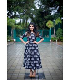 Black Cotton Print Fit and Flare Dress