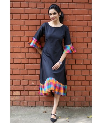 Black Cotton Aline dress