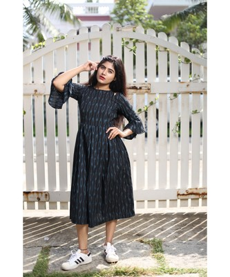 Black Ikkat Cotton Fit and Flare Dress