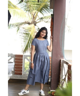 Blue chambray Fit and Flare Dress