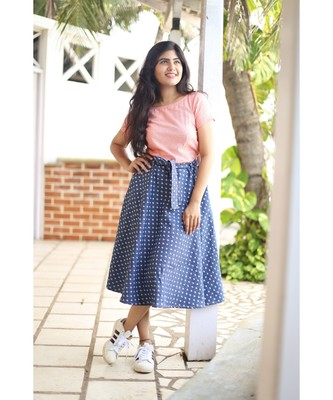 Blue Denim Fit and Flare Dress