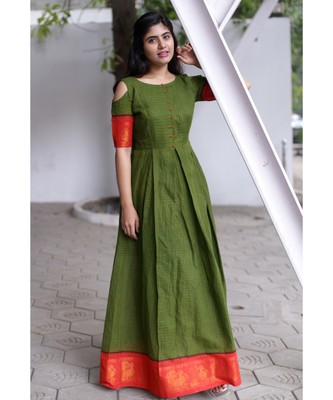 Green Cotton Fit and Flare Dress