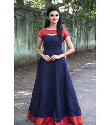 Dark Blue Cotton Fit and Flare Dress