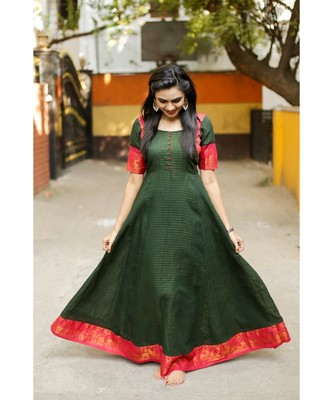 Dark Green Cotton Fit and Flare Dress