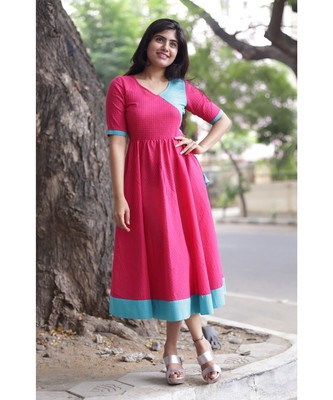 Pink Cotton Fit and Flare Dress