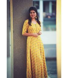 Yellow Rayon Fit and Flare Dress
