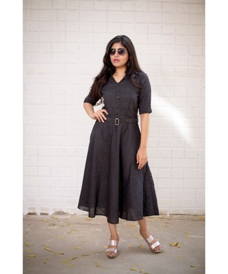 Black Cotton Fit and Flare Dress