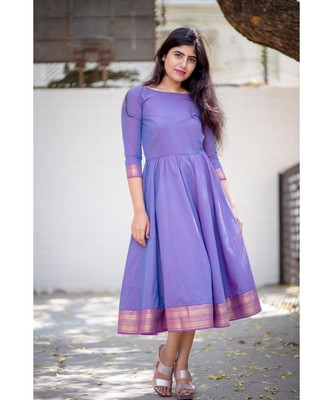 Lavender Cotton Fit and Flare  Dress