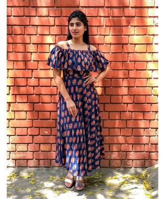 Blue Rayon Fit and Flare Dress