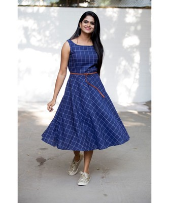 Blue Cotton Fit and Flare Dress