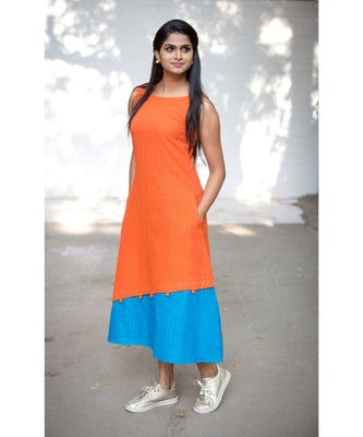 Orange Cotton Aline Dress