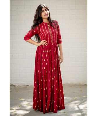 Maroon Rayon Fit and Flare Dress