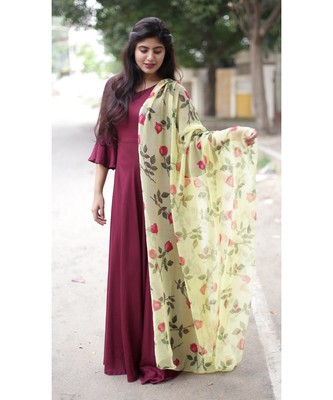 Wine Rayon Fit and Flare Kurta