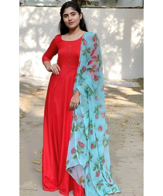 Red Rayon Fit and Flare Kurta