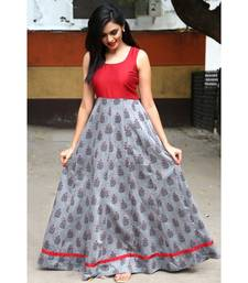 Grey Cotton Fit and Flare Anarkali