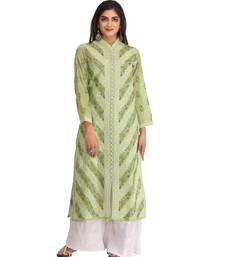 Ada Hand Embroidered Green Cotton Lucknow Chikankari Kurti