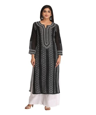 Ada Hand Embroidered Black Cotton Lucknow Chikankari Kurti
