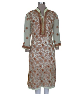 Ada Hand Embroidered Yellow Faux Georgette Lucknowi Chikankari Kurti