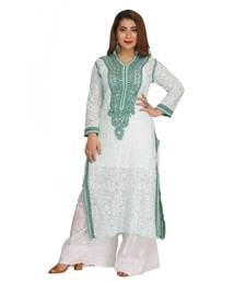 Ada Hand Embroidered Sea Green Faux Georgette Lucknow Chikan Kurti