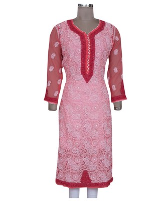 Ada Hand Embroidered Carrot Pink Faux Georgette Lucknowi Chikan Kurti