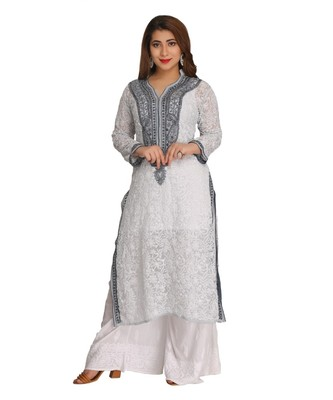 Ada Hand Embroidered Grey Faux Georgette Lucknowi Chikan Kurti