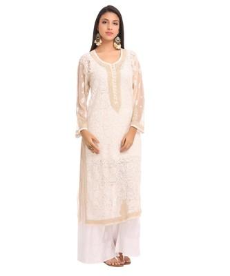 Ada Hand Embroidered Fawn Faux Georgette Lucknow Chikankari Kurti