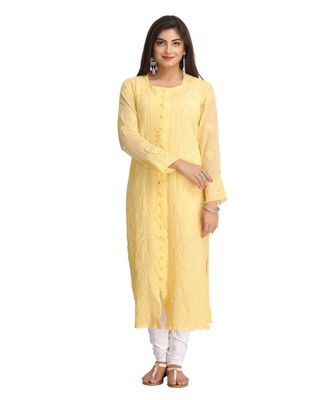 Ada Hand Embroidered Light Yellow Faux Georgette Lucknow Chikan Kurti