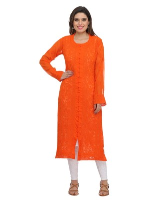 Ada Hand Embroidered Orange Faux Georgette Lucknow Chikan Kurti
