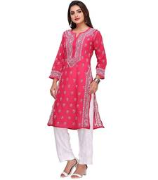 Ada Hand Embroidered Magenta Cotton Lucknowi Chikan Kurti