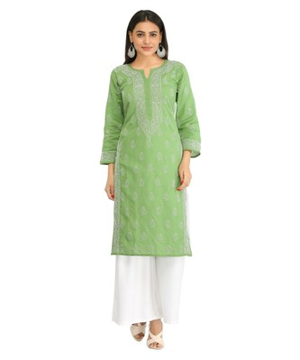 Ada Hand Embroidered Green Cotton Lucknow Chikan Kurti