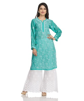 Ada Hand Embroidered Sea Green Georgette Lucknowi Chikan Kurti