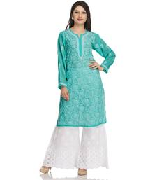 Ada Hand Embroidered Sea Green Georgette Lucknowi Chikan Kurti