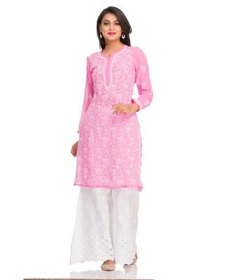 Ada Hand Embroidered Pink Faux Georgette Lucknow Chikankari Kurti