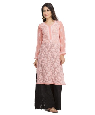 Ada Hand Embroidered Peach Faux Georgette Lucknow Chikankari Kurti