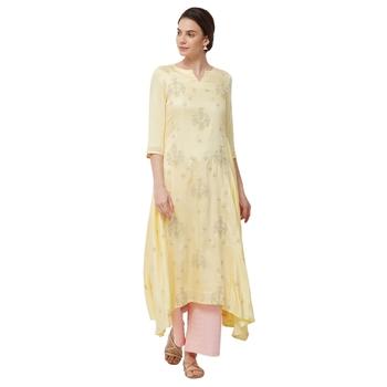 Yellow embroidered satin kurti