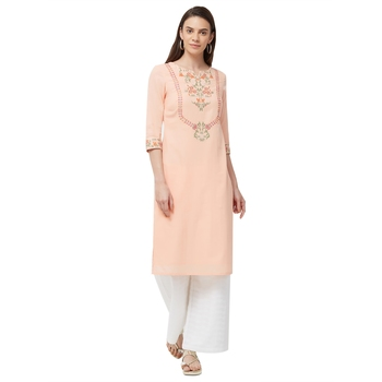 Coral embroidered cotton kurti