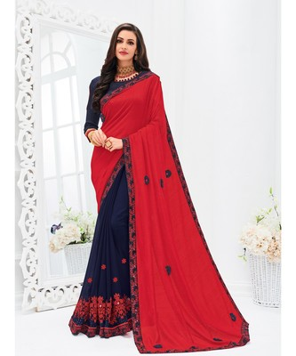 red embroidered silk_blend saree with blouse