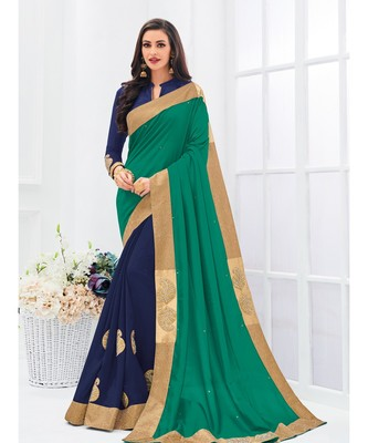 green embroidered silk_blend saree with blouse