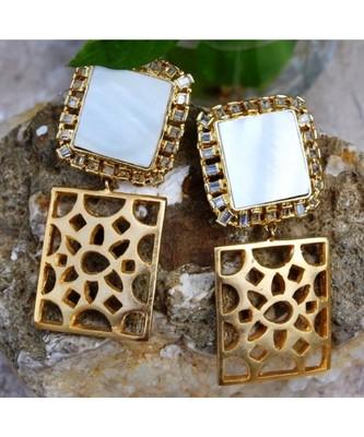 Pearl Diamond Gold Plated Dangler Earrings