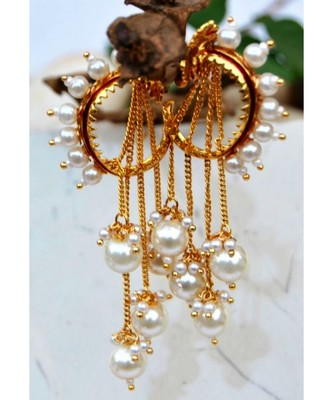 Pearl Hoop Earrings with Pearl Latkan