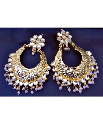 Glamorous Gold Kundan Etchwork Dangler Earrings