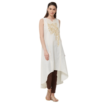 Beige embroidered cotton kurti