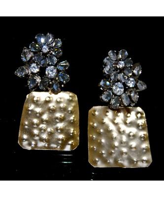 Uncut Diamond Studded Gold Hammered Dangler Earrings
