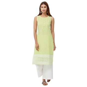 Lime embroidered cotton kurti