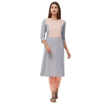 Grey embroidered cotton kurti