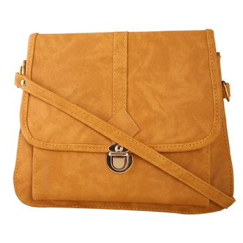 Women Casual Yellow leatherette Sling Bag
