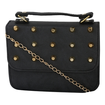 Women Casual Black leatherette Sling Bag