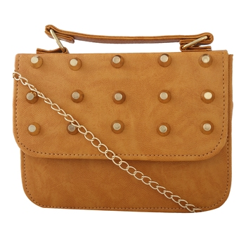 Women Casual Tan leatherette Sling Bag