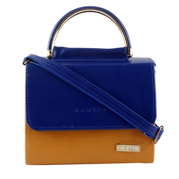 Royal Blue and Brown Leatherette Sling bag for Women