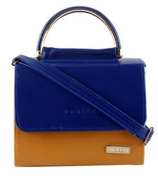 306a00765e0 Royal Blue and Brown Leatherette Sling bag for Women. Shop Now